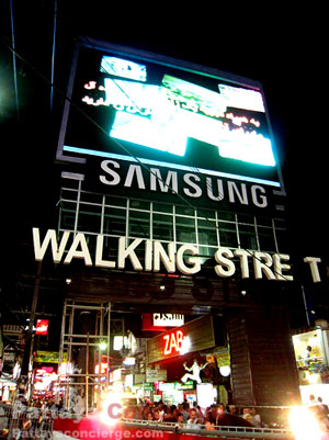 The Entrance of Pattaya Walking Street with a large LED Screen