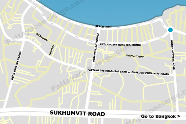 pattaya map with one-way roads identified